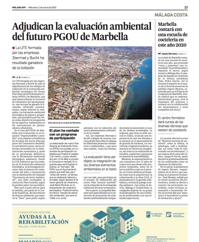 La UTE formada por Ibermad y Buró4 se adjudica la redacción de la Evaluación Ambiental del PGOU de Marbella