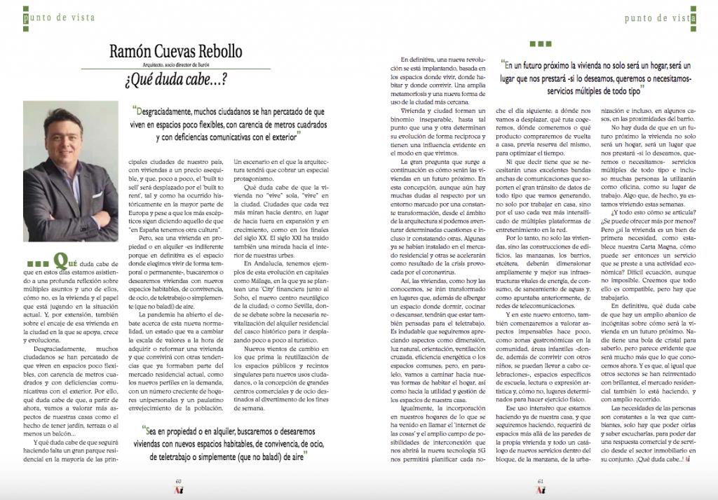 La revista 'Andalucía Inmobiliaria' publica un artículo de Ramón Cuevas sobre el futuro de las viviendas tras la cuarentena