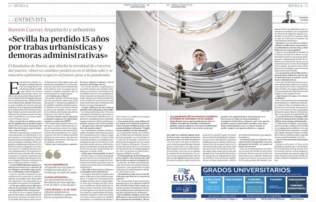 El diario ABC entrevista a Ramón Cuevas para analizar la situación urbanística actual y las perspectivas del sector