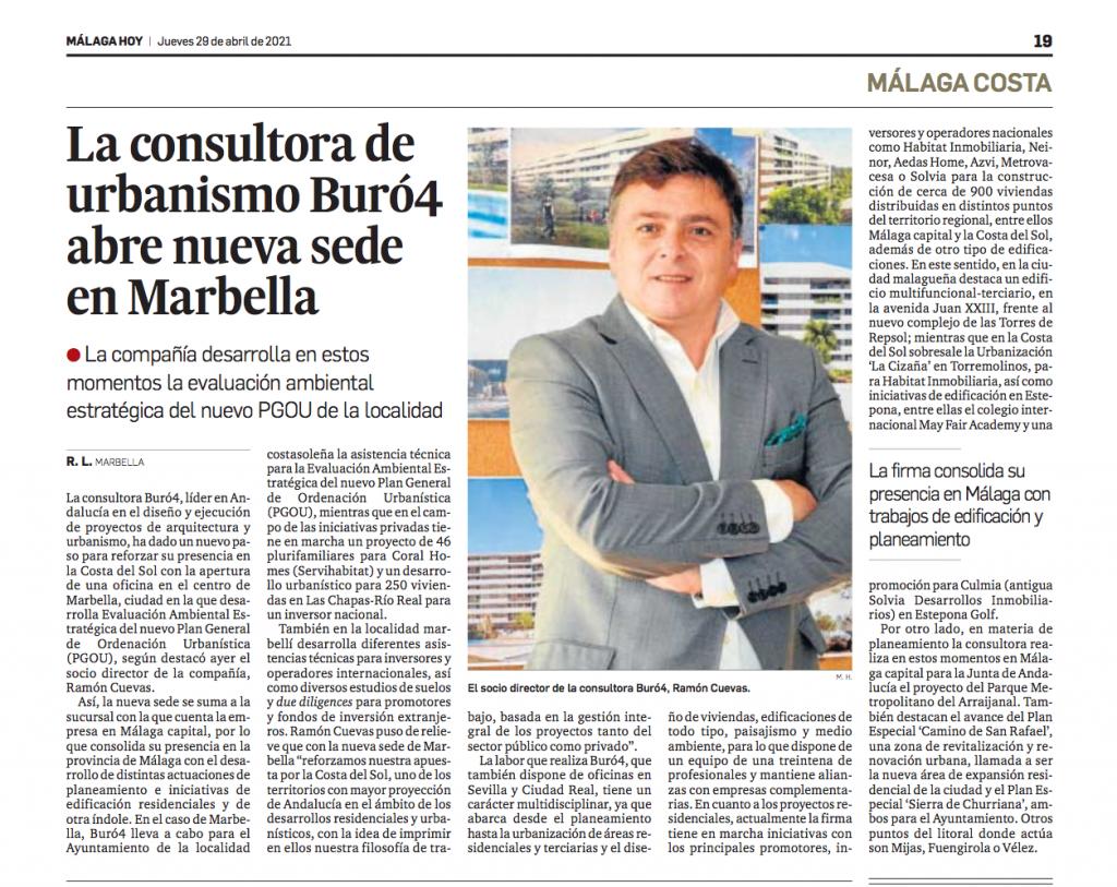 Buró4 refuerza su presencia en la Costa del Sol con la apertura de una nueva sede en Marbella